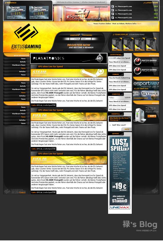 灵感的干货!46个为你带来灵感的游戏网站设计!Exitus Gaming by ~tondowebmedia