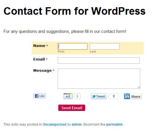 10个简单的最佳WordPress博客的联系人表单插件!123wordpress